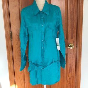 NWT Karen Kane Turquoise Shirtdress